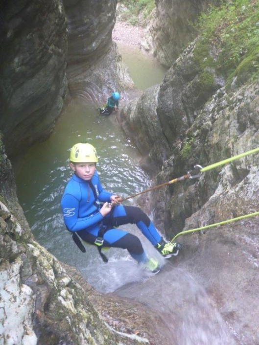 Canyoning Gardasee Funny Thrill abseilen Kind